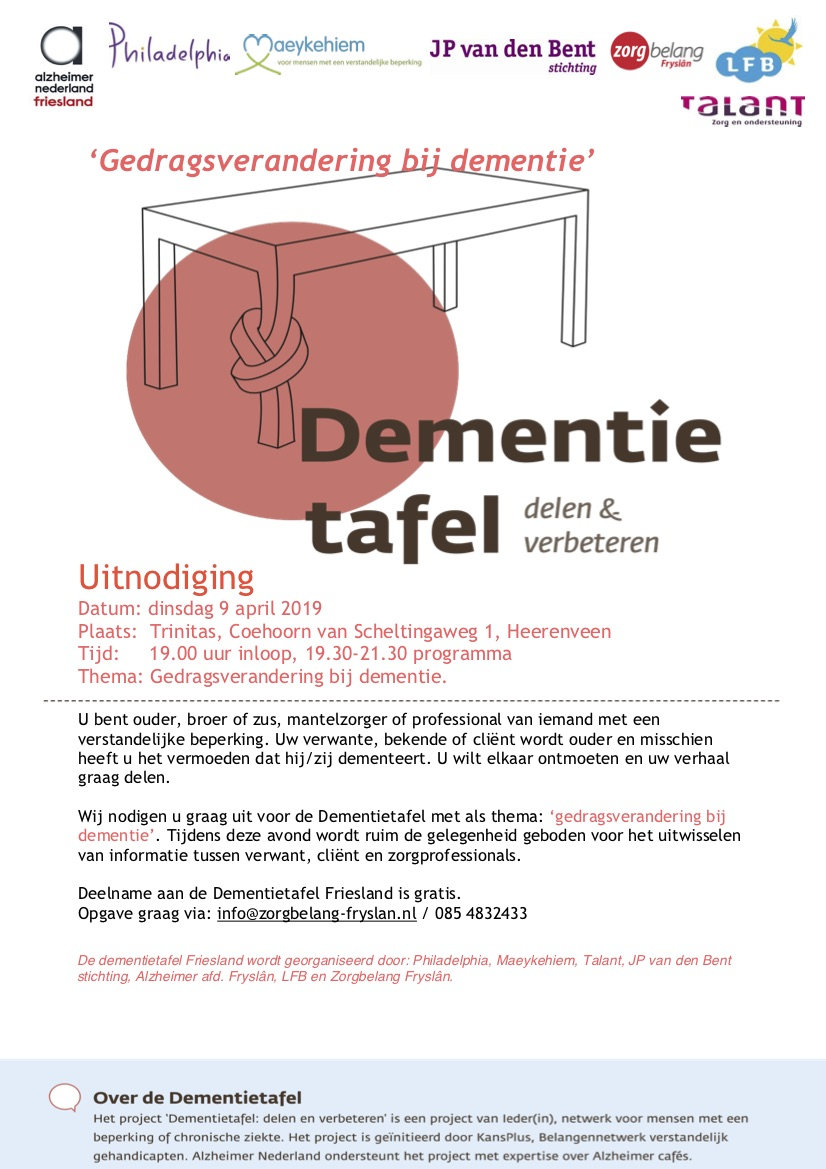 Uitnodiging Dementietafel 9 April 2019 1
